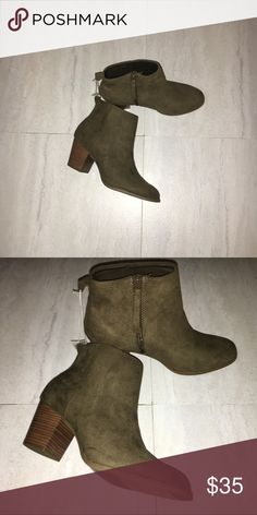 Olive Suede Booties Very comfortable simple boots.  Perfect for all season.  If you have any question feel free to ask! Shoes Ankle Boots & Booties