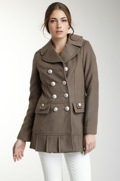 Double Breasted Detail Notch Collar Coat on HauteLook