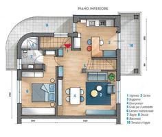 planimetria del sottotetto su due livelli, piano d'ingresso
