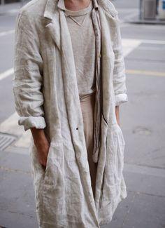Loose linen duster coat / Pale / Odd Portal Device