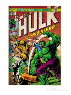 Marvel Comics Retro: The Incredible Hulk Comic Book Cover No.181, with Wolverine (aged) Prints at AllPosters.com