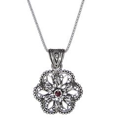 Love this Ottoman Silver Collection Ruby & Sterling Silver Filigree Flower Pendant Necklace by Ottoman Silver Collection on #zulily! #zulilyfinds