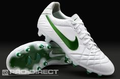 Nike Football Boots - Nike Tiempo Legend IV FG - Firm Ground - Soccer Cleats - White-Court Green-Metallic Silver