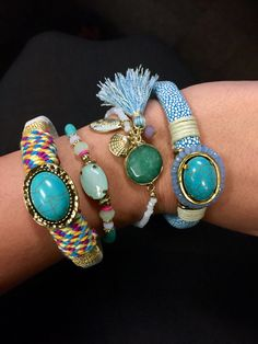 Weekend ready in our favorite #armparty! #laurajanelle #ivystone #RGLB #stackem #stackitup #jewelry #bracelet #bracelets #fashionjewelry #fashionforward #style #weekendready #chic #focalstone #dainty #daintybracelets #magenticfocalstonebracelet #stylishsaturday