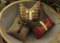 Primitive Kitty Cat Autumn Bowl Fillers Drawer Dwellers Ornies