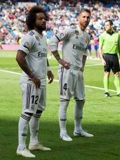 Marcelo of Real Madrid, Sergio Ramos of Real Madrid during the La Liga Santander match between Real Madrid v Levante at the Santiago Bernabeu on October 2018 in Madrid Spain Get premium, high resolution news photos at Getty Images Real Madrid Football, World Football, Football Players, Football Soccer, Isco, Real Mardrid, Santiago Bernabeu, Milan, Sergio Ramos