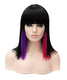 Rabbitgoo Short MidLength Shoulder Wig Sexy MultiColored Highlighted Cosplay Harajuku Style Lolita Bob Wig with Flat Neat BangsBlackPurpleRed * BEST VALUE BUY on Amazon #HarajukuCosplayWig