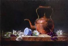 Elizabeth Robbins Pruitt award winning still life artist and portrait painter exhibits her artwork in art galleries across the US and teaches her technique to art groups in the US and internationally. Copper Tea Kettle, Still Life Artists, Realistic Oil Painting, Best Memories, Fantasy Art, Art Gallery, Bronze, Fine Art, Portrait