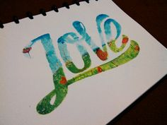 The first #handlettering coloring with sakura koi #watercolor #typography