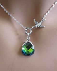 Peacock Aqua Sphinx and Sparrow sterling silver by RoyalGoldGifts