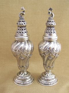 German silver plated Art Nouveau salt and pepper shakers from approximately 1880 to 1920