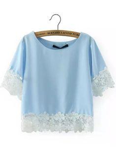 Light Blue Short Sleeve Floral Crochet Crop Top