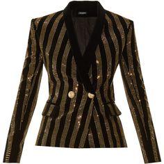 Balmain Striped embellished velvet blazer ($1,126) ❤ liked on Polyvore featuring outerwear, jackets, blazers, balmain, blazer, balmain jacket, brown velvet jacket, velvet blazer, double-breasted blazer and stripe blazer