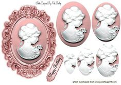 PINK CAMEO LADY IN PINK FRAME OVAL PYRAMIDS on Craftsuprint - Add To Basket!