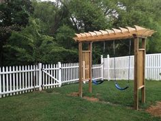 This is the new swing set I just built for the kids.  When they outgrow it, I will make it a Pergola with one adult swing.: