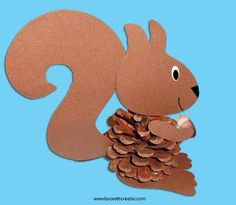 Squirrel made with pine cone and colored cards. AUTUMN WORKER Scoiatt … - Diy and Crafts Autumn Crafts, Fall Crafts For Kids, Autumn Art, Diy For Kids, Kids Crafts, Summer Crafts, Winter Craft, Toddler Crafts, Cute Crafts