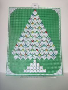 Christmas Tree plastic canvas needlepoint Beaded finished completed Wall Decor  $19.98 Starting bid.