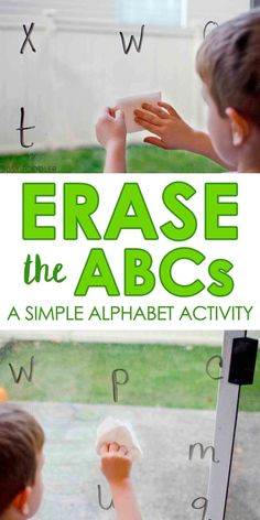 Erase the ABCs: Easy Alphabet Activity that toddlers and preschoolers will love; quick and easy activity; home school activity Erase the ABCs: Easy Alphabet Activity that toddlers and preschoolers will love; quick and easy activity; home school activity Abc Activities, Toddler Learning Activities, Fun Learning, Preschool Alphabet Activities, Educational Activities, Learning Spanish, Teaching Toddlers Abc, Writing Activities For Preschoolers, Teaching Abcs