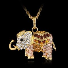 Elephant Necklace With Crystal Rhinestone and Long Chain. Starting at $1
