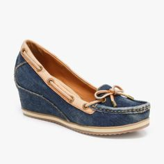 Geox Illusion Mocassin Wedges In Jeans & Camel, sporty and fun!