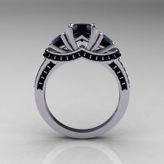 French 10K White Gold Three Stone Black Diamond Ring.