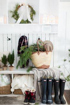Christmas Home Tour Part 2 (Craftberry Bush) Frosted Christmas Tree, Cottage Christmas, Nordic Christmas, Rustic Christmas, Christmas Home, Christmas Decor, Christmas Ideas, Xmas, Winter Centerpieces