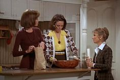 Fitted sweater Mary Richards, cool relaxed Boho Chi Rhoda Morgenstern, and tailored blazer, updo-hairdo-ed Phyllis (the hopeful real estate agent.