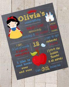 First Birthday Chalkboard- Princess-Custom First Birthday Sign-Snow White Chalkboard Stats-Custom Digital File-Birthday Party-Birthday on Etsy, $15.00