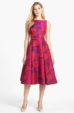 Floral Jacquard Tea Length Fit & Flare Dress
