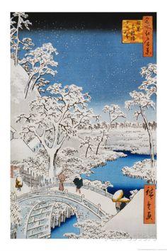 Drum Bridge at Meguro, Asian painting