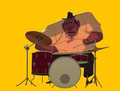 He plays drums #sketch #drums #jazz #illustration #animation #characterdesign #character #murfish