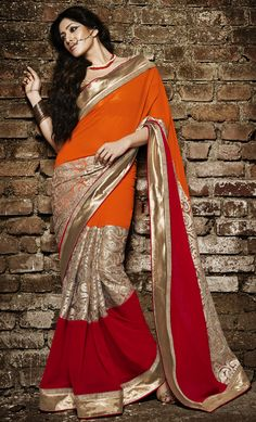 USD 125.28 Orange Faux Georgette Designer Saree 44170