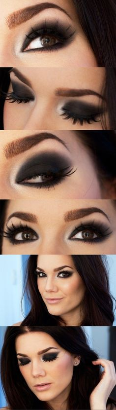 Smokey eye con sombra negra.
