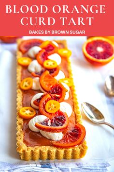 This Blood Orange Curd Tart is creamy blood orange curd with a brown sugar cookie crust and topped with candied blood oranges.  Blood orange season is short so get some soon to try this recipe. #bloodoranges #oranges #tart #citrus