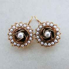 1800 style antique earrings with roses and pearls