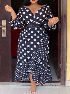 Evening Dresses Plus Size, Plus Size Dresses, Plus Size Vintage Dresses, Polka Dot Long Dresses, Looks Plus Size, Plus Size Fashion For Women, Fall Dresses, Party Dresses, Dot Dress