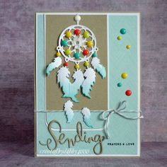 Dreamcatcher by - Cards and Paper Crafts at Splitcoaststampers Feather Cards, Nativity Crafts, Marianne Design, Sympathy Cards, Masculine Cards, Cute Cards, Stampin Up Cards, Cardmaking, Christmas Cards