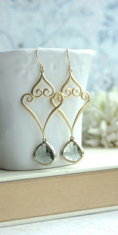 Gold Grey Victorian Filigree Chandelier Long Dangle Drop Earrings. Bridesmaids Gifts, Grey and Gold Wedding by Marolsha