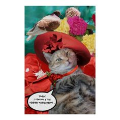"""CELEBRITY CAT PRINCESS TATUS WITH RED HAT AND DOVE DIGITAL ART POSTER by Bulgan Lumini (c) """"Today I choose a hat slightly extravagant """" Princess Tatus wearing an elegant chic red hat with a bird among yellow pink red roses. Photo and digital graphic design by Bulgan Lumini Princess Tatus and her celebrity hats."""