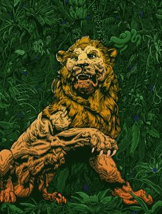 An illustration by Tim McDonagh, it shows a majestic lion. drawing A Fine Line: The Illustrations of Tim McDonagh Creative Poster Design, Creative Posters, Brighton, Magazine Cover Layout, Magazine Covers, Lion Illustration, Old Comics, Art Base, Medium Art