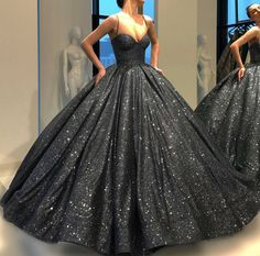 Ball Gown Sweep Train Black Sequin Prom Dress P2403