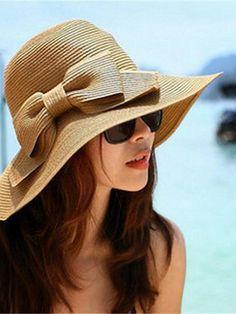 Women Summer Bow Travel Hat  Big Hat Beach Sunscreen Hat