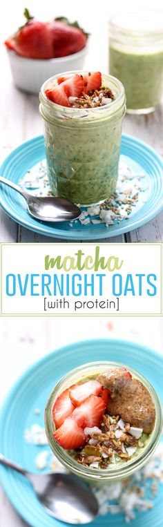 An easy make-ahead breakfast these Matcha Overnight Oats use steel cut oats yogurt chia seeds and protein powder for a meal that will keep you full for hours. Plus you get the health benefits of matcha green tea! Make Ahead Breakfast, Healthy Breakfast Recipes, Clean Eating Recipes, Healthy Snacks, Healthy Eating, Healthy Recipes, Breakfast Ideas, Protein Recipes, Protein Snacks