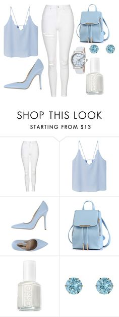 """Untitled #298"" by cuteskyiscute ❤ liked on Polyvore featuring Topshop, MANGO, Norma J.Baker, Essie and Lucien Piccard"