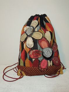 DRAWSTRING BACK PACK Cinch Sack  Recycled Bag  by WhimsyEyeDesigns, $60.00