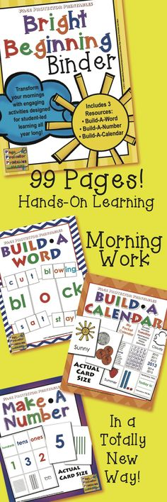 Morning Work Revamped! Entire year without endless copies! Once it is assembled, use it daily year after year! $