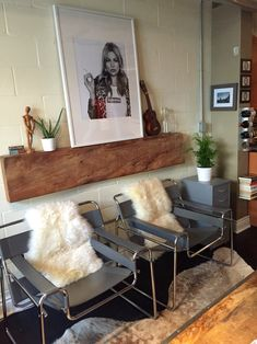 Scandinavian interior. Wassily chairs sheepskin Kate moss for supreme cowhide rug ukulele