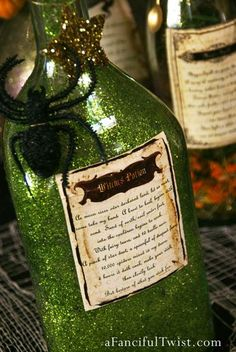glitter the inside of some bottles and jars Potion Spell Labels 9