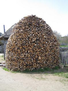bee hive wood pile