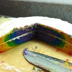 I made a rainbow cake(: